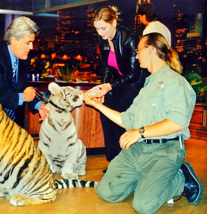 Kate Winslet petted a a golden and a white tiger cub.