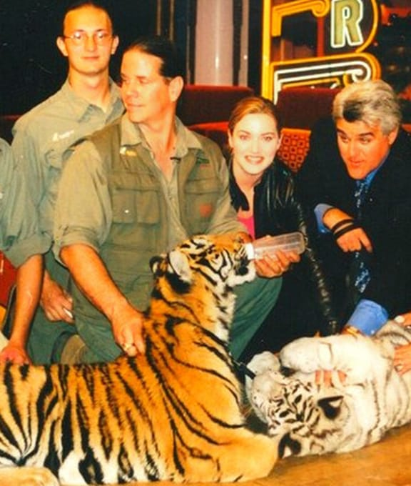 Kate Winslet with Tiger trainers at the show.